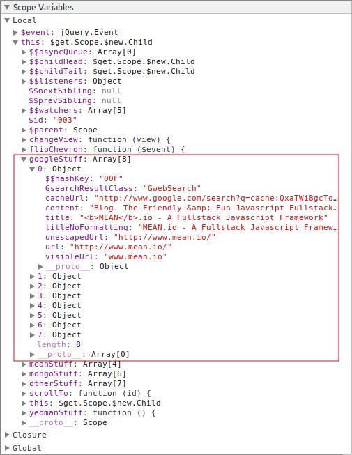 'googleStuff' Property of the '$scope' Object