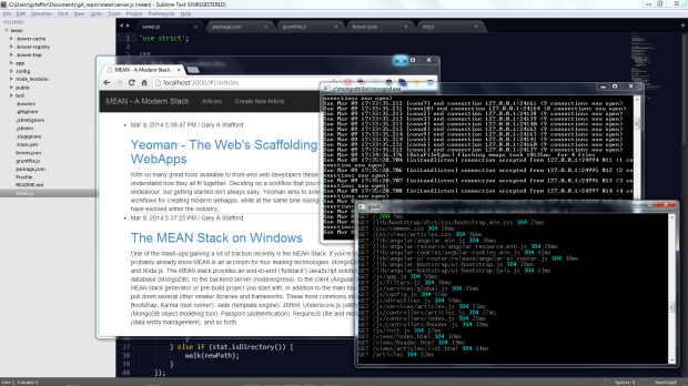 MEAN Stack Using the MEAN.io Project, Running on Windows