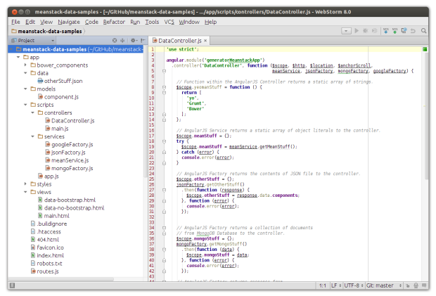 Project in JetBrains WebStorm 8.0