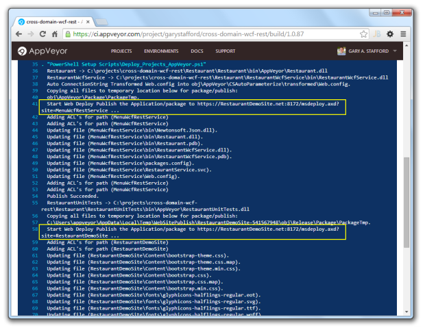 AppVeyor Output from Deployments to Azure.