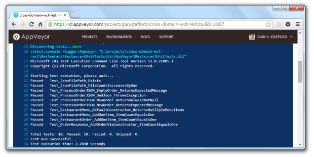 AppVeyor Running Automated Unit Tests Using VSTest.Console