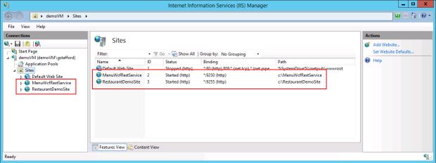Final View of IIS Sites Running on Azure VM