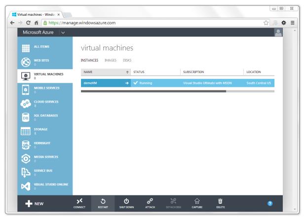 New Microsoft Azure Portal View of VM