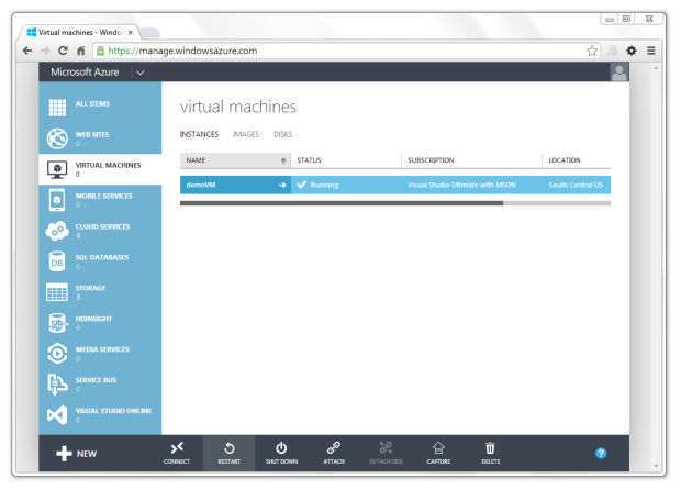 New Microsoft Azure Portal View of VM