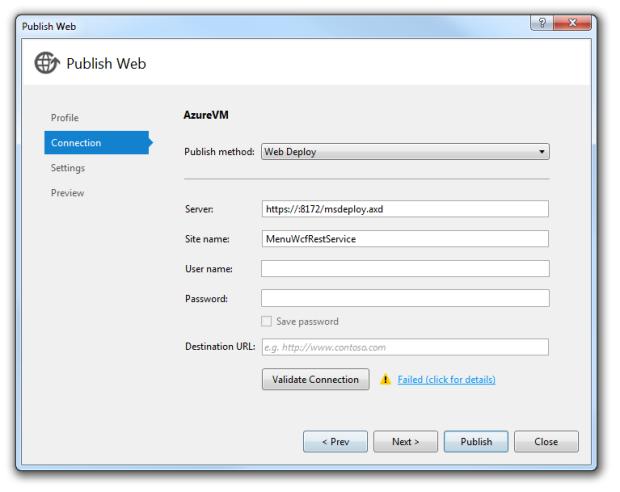 Publish Web Connection Tab - Failed Validation