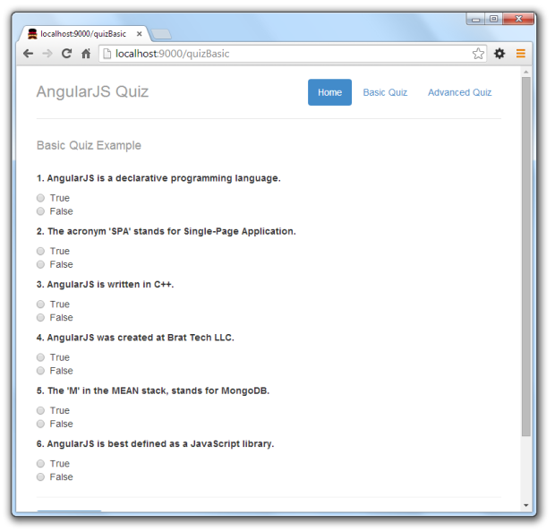 javascript quiz template data driven forms with angularjs s two way data binding