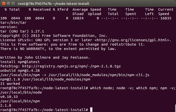 Install Latest Node js and npm in a Docker Container | Programmatic