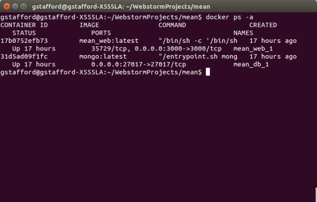 MEAN.JS Docker Containers Created