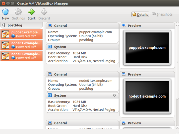 Vagrant Machines in VM VirtualBox Manager