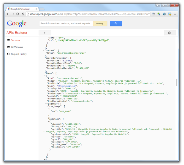 Google APIs Explorer - Exploring Custom Search API
