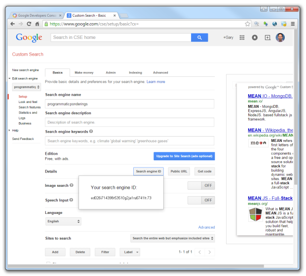 Google Custom Search - Your Search Engine ID