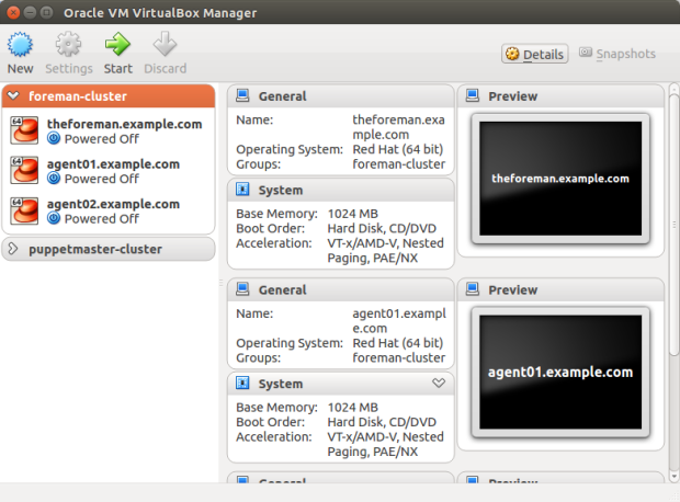 Oracle VM VirtualBox Manager View