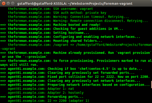 Vagrant Provisioning the VMs