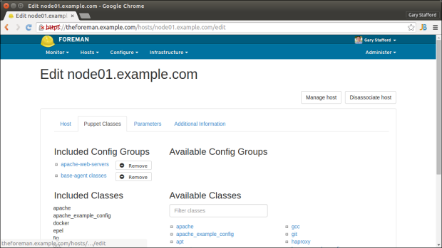 Apache Nodes Puppet Classes Tab