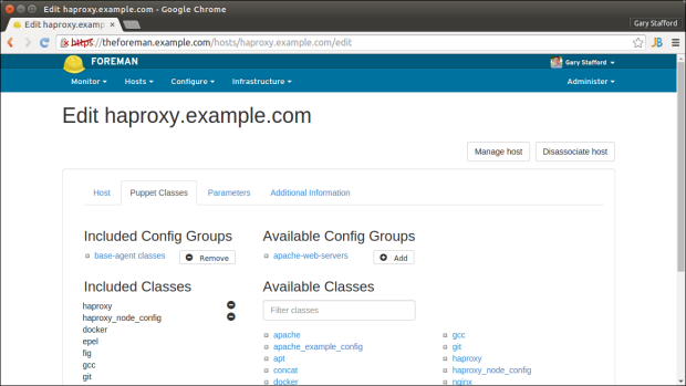 HAProxy Node Puppet Classes Tab