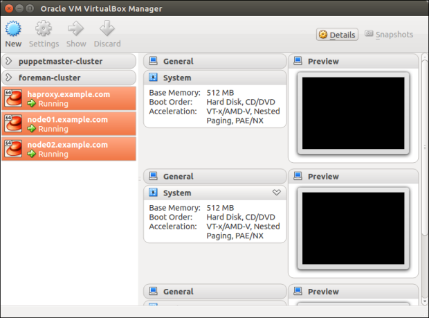 Oracle VM VirtualBox Manager View of New Nodes