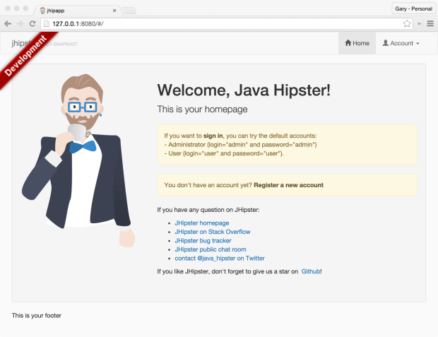 Default JHipster Application Running