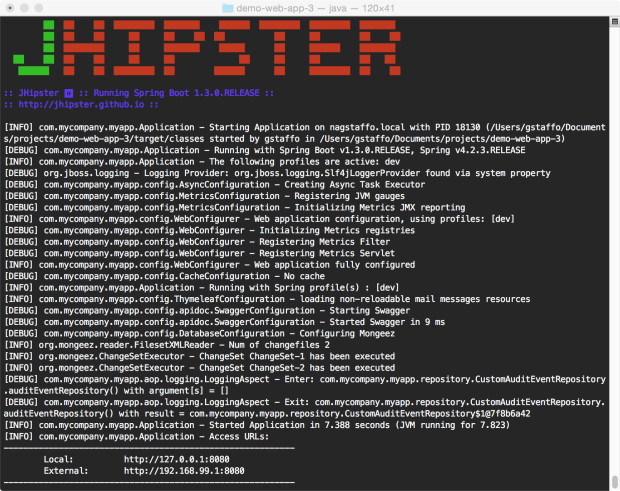 JHipster Application Running with Maven