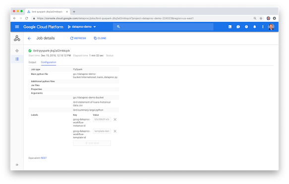 Using the Google Cloud Dataproc WorkflowTemplates API to Automate