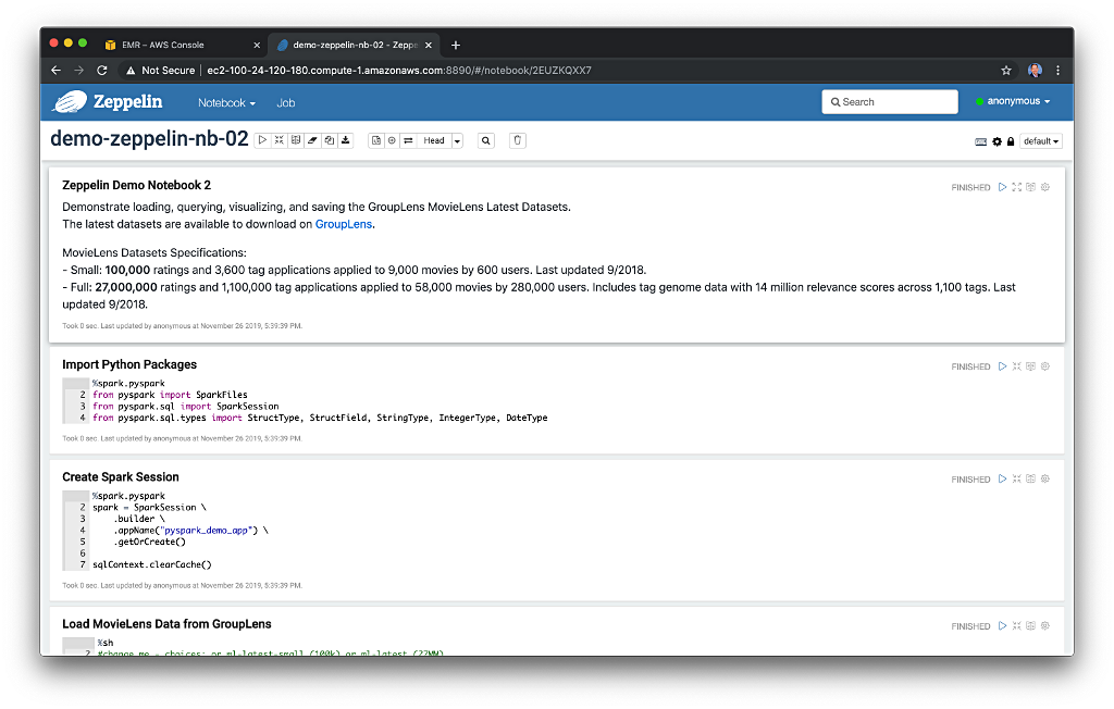 Getting Started with Apache Zeppelin on Amazon EMR, using